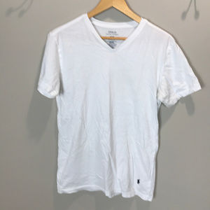 Men's Sz M White POLO V-neck T Shirt